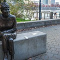 A bronze statue of Vera Katz, to whom the Eastbank Esplanade was commemorated in 2004.- Vera Katz Eastbank Esplanade