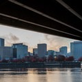 Downtown Portland from beneath the Morrison Bridge.- Vera Katz Eastbank Esplanade