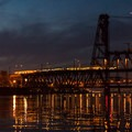 A MAX Trimet train makes its way across the Steel Bridge.- Vera Katz Eastbank Esplanade