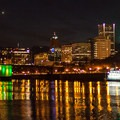 Downtown Portland's city lights reflect on the Willamette just below the Eastbank Esplanade.- Vera Katz Eastbank Esplanade
