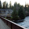 The lodge and hot pool are right on the banks of the McKenzie River.- Belknap Hot Springs