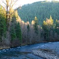 The McKenzie River runs through the middle of the resort.- Belknap Hot Springs Resort