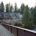 The lodge and hot pool on the banks of the McKenzie River- Belknap Hot Springs Resort