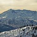 The sky changes hues over Mount St. Helens (8,365') throughout the day.- Mount Margaret via Norway Pass