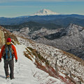 Mount Adams (12,281') is a convenient view for hikers on a there-and-back trip.- Mount Margaret via Norway Pass