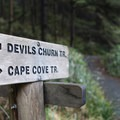 Signs marking the trail- Cape Cove Beach + Devils Churn