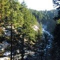 View of Little White Salmon gorge.- Spirit Falls Hike