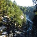 View of Little White Salmon gorge.- Spirit Falls Hike