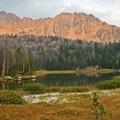 Fourth of July Lake with a spectaular Whitecloud Ridge backdrop.- Washington Lake