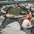 The rivers edge provides a relaxing soaking environment.- Sunbeam Hot Springs