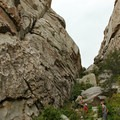 Climbers make use of a shady ravine for daytime climbing comfort.- Castle Rocks State Park