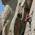 Contributor Andrew Stohner finds a toe on a climb in Hostess Gully.- Castle Rocks State Park