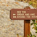 Signage is helpful in wayfinding and delineating rock formations.- Castle Rocks State Park