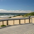 ADA accessible interpretive boardwalk overlooking the ocean.- South Beach State Park Campground