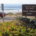 The turnout and parking area for North Salmon Creek sits along scenic HIghway 1 just north of Bodega Bay.- North Salmon Creek