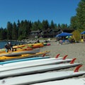 Kayaks for rent in Tahoe City.- Lake Tahoe, Kings Beach to Tahoe City Paddle