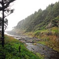 Gwynn Creek flowing into Cape Cove Beach.- Cape Cove Beach + Devils Churn