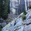 The Mist Trail ascends beneath Vernal Falls. - Vernal Falls Hike via Mist Trail