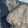 Fall is a beautiful time to visit Yosemite with fewer visitors in the valley but also means less water flowing off the falls. Looking across the valley at Upper Yosemite Falls at low flow.- Four Mile Trail to Glacier Point