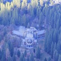 The Ahwahnee hotel from Glacier Point.- Four Mile Trail to Glacier Point