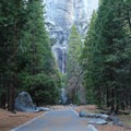 During the fall you just might find an empty trail on your visit to Lower Yosemite Falls.- Lower Yosemite Falls