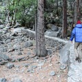 With a bit of exploring, visitors can make their way up to the base of the falls.- Lower Yosemite Falls