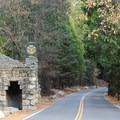 The entrance road to the Ahwahnee.- The Ahwahnee Hotel