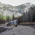 Mirror Lake changes from lake to meadow during its seasonal succession.- Mirror Lake Loop