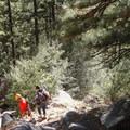 Climber's descent down an adjacent gully.- After Six