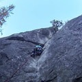 The crux section of After Six on the first pitch.- After Six