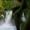 A kayaker takes his final strokes off Spirit Falls.- Spirit Falls Hike