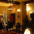 Waiting area outside of the Ahwahnee Dining Room.- The Ahwahnee Hotel
