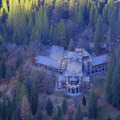An aerial view of The Ahwahnee Hotel from Glacier Point.- The Ahwahnee Hotel
