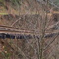 Washout and track damage on the Upper Salmonberry River Trail.- Upper Salmonberry River Trail