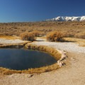 The Morning Glory Pool at Mickey Hot Springs with Steens Mountain (9,734') in the distance.- Mickey Hot Springs
