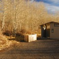 Vault Toilet Facility at Fish Lake Campground.- Fish Lake Recreation Site Campground