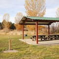 The group picnic shelter area at Page Springs Campground.- Page Springs Campground
