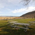 The picnic area at Frenchglen Hotel State Heritage Site.- Frenchglen Hotel State Heritage Site