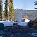 Willamette Pass Ski Resort is visible across Odell Lake from Shelter Cove Resort.- Shelter Cove Resort + Marina