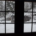 The view from inside Hall House.- Fish Lake Remount Depot