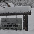 Fish Lake Remount Depot sign from Highway 126.- Fish Lake Remount Depot