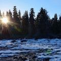 Frozen and shallow Fish Lake in winter.- Fish Lake Remount Depot