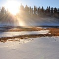Frozen and shallow Fish Lake in winter.- Fish Lake Remount Depot