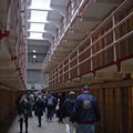 Looking down Broadway, which runs between cell blocks B and C, toward the West Gun Gallery, Times Square, and the dining hall.- Alcatraz Island