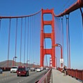 Approaching one of two 746-foot towers that suspend 15,300 feet of main cable.- Golden Gate Bridge + Fort Point