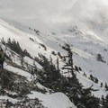 Beginning of the off-trail traverse en route to the Sandy Glacier Caves.- Mount Hood: Sandy Glacier Ice Caves