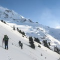 Off-trail traverse en route to the Sandy Glacier Caves.- Mount Hood, Sandy Glacier Ice Caves