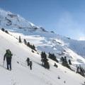 Off-trail traverse en route to the Sandy Glacier Caves.- Mount Hood: Sandy Glacier Ice Caves