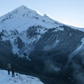 Mount Hood (11,250') from Bald Mountain's southern slope.- Mount Hood: Sandy Glacier Ice Caves