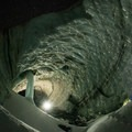 Mount Hood, Sandy Glacier Caves: main entry to Snow Dragon.- Mount Hood: Sandy Glacier Ice Caves